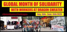 Global month of solidarity with workers at dragon sweater